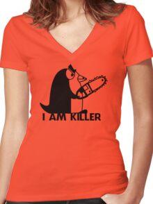 Killer Penguin Funny Man Tshirt Women's Fitted V-Neck T-Shirt