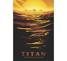 Titan Moon - Saturn Travel Poster Photographic Print