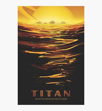 Titan Moon - Saturn Travel Poster Photographic Print