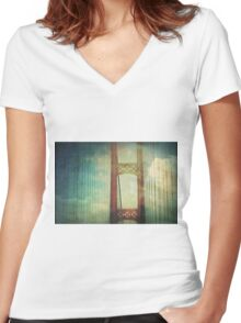 The Mackinac Bridge Women's Fitted V-Neck T-Shirt