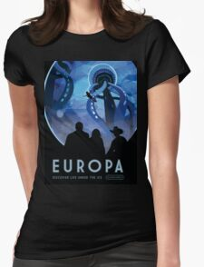 Europa Moon - Jupiter Travel Poster Womens Fitted T-Shirt