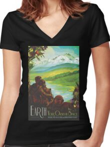 Earth Space Travel Poster Women's Fitted V-Neck T-Shirt