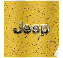 muddy yellow Jeep with chrome typograph Poster