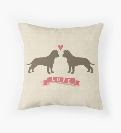 American Staffordshire Terriers in Love Throw Pillow