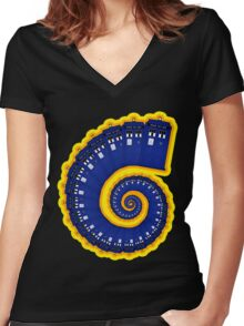 Doctor Who - TARDIS Spiral Women's Fitted V-Neck T-Shirt