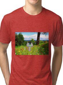 A Cat Enjoying A Graden Tri-blend T-Shirt