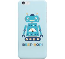 Retro robot with text Beep Bop! iPhone Case/Skin