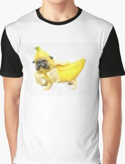 Pug Banana Watercolor Graphic T-Shirt