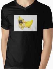Pug Banana Watercolor Mens V-Neck T-Shirt