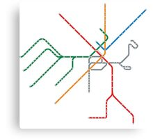 Boston Train Map Canvas Print