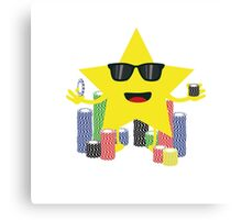 lucky star with poker chips Canvas Print