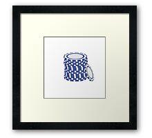 Blue poker chips Framed Print