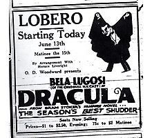 Newspaper advertising - Dracula Photographic Print