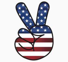 US Flag Peace Hand Sign One Piece - Short Sleeve