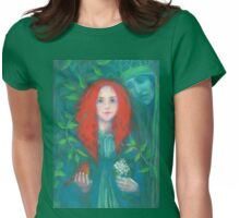 Child of the forest, red haired girl, green shades, fantasy art Womens Fitted T-Shirt