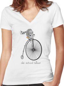 old school biker Women's Fitted V-Neck T-Shirt