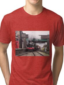 Vintage Steam Railway Train at the Station Tri-blend T-Shirt