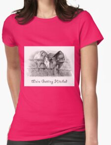 Western, Horses Wedding Invitation, Pencil Art Womens Fitted T-Shirt