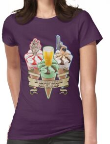 Three Flavours Cornetto Trilogy with banner Womens Fitted T-Shirt