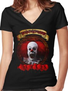 Tim Curry Pennywise Stephen King T-Shirt Women's Fitted V-Neck T-Shirt