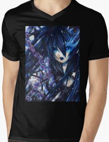 Dual Tone Digital Painting Black Rock Mens V-Neck T-Shirt