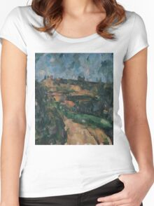 Paul Cezanne - Bend Of The Road At The Top Of The Chemin Des Lauves Impressionism  Still Life Women's Fitted Scoop T-Shirt