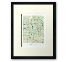 Beijing Map Blue Vintage Framed Print