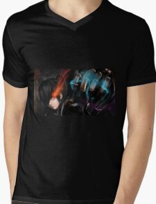 Burning Eyes Flaming Fist Mens V-Neck T-Shirt
