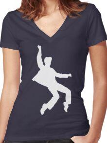 White Elvis Women's Fitted V-Neck T-Shirt