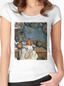 Paul Cezanne - Ginger Pot with Pomegranate and Pears 1893 Impressionism  Still Life Women's Fitted Scoop T-Shirt