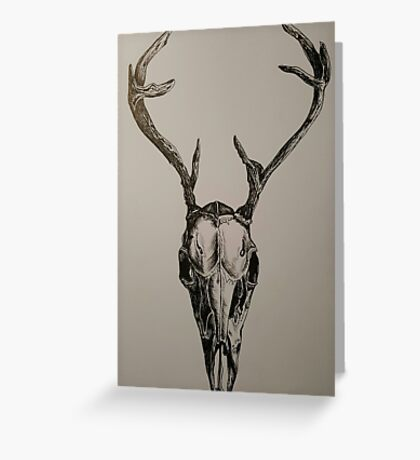 Death - Stag Skull. Black Ink Greeting Card