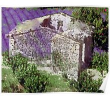 Barn with lavender Poster