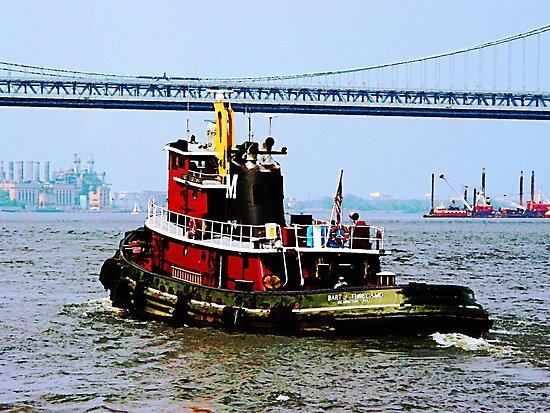Phildelphia PA - Tugboat at Penn's Landing by Susan Savad