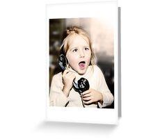 Little emotive girl speaking vintage wired telephon Greeting Card