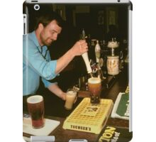 Landlord serving pints of beer, UK, 1980s. iPad Case/Skin