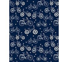 bicycles, black and white, hand drawn, print, pattern, andrea lauren, tour de france, bicycle, bike, bikes, biking, cycle, cycling, athlete, kids, baby, children, drawing,  Photographic Print