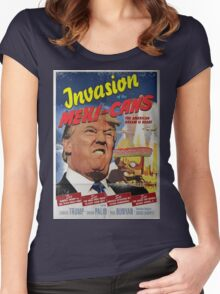 Donald Trump vs the Mexi-cans 1950's Movie poster Women's Fitted Scoop T-Shirt