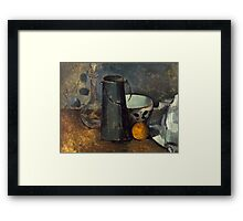 Paul Cezanne - Still Life with Carafe, Milk Can, Bowl, and Orange 1879-1880 Framed Print