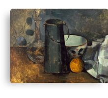 Paul Cezanne - Still Life with Carafe, Milk Can, Bowl, and Orange 1879-1880 Canvas Print