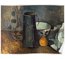 Paul Cezanne - Still Life with Carafe, Milk Can, Bowl, and Orange 1879-1880 Poster