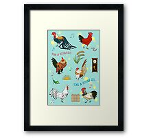Cute seamless roosters pattern cartoon Framed Print