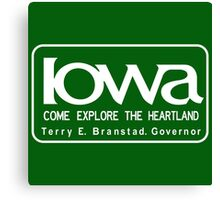 Iowa Come Explore the Heartland, Road Sign Vintage 90s, USA Canvas Print