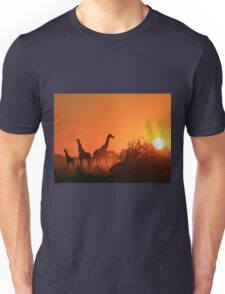 Giraffe Silhouette - African Wildlife Background - Going to the Sun Unisex T-Shirt