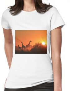 Giraffe Silhouette - African Wildlife Background - Going to the Sun Womens Fitted T-Shirt