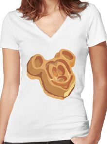 Mickey Waffle! Women's Fitted V-Neck T-Shirt
