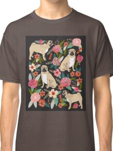 Pugs of Spring pattern print dogs puggle puppy floral flowers nature pug dog walker dog gifts for pug owners Classic T-Shirt