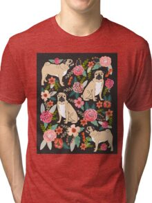 Pugs of Spring pattern print dogs puggle puppy floral flowers nature pug dog walker dog gifts for pug owners Tri-blend T-Shirt