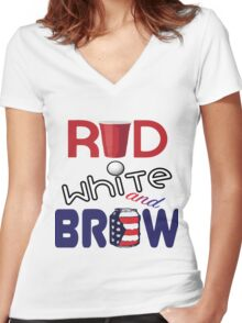 Red White and Brew  Women's Fitted V-Neck T-Shirt