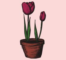 Potted Tulips One Piece - Long Sleeve