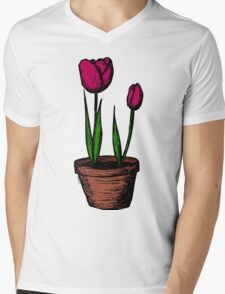 Potted Tulips Mens V-Neck T-Shirt